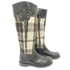 Tory Burch Shoes - NEW Tory Burch Colleen Plaid Riding Boots Size 7.5